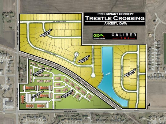 A map of the Trestle Crossing development.