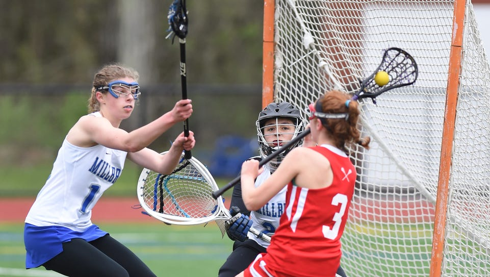 Millbrook's Kelly Waters covers Red Hook's Mia Michaelides