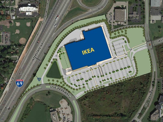 Site plan of the proposed IKEA in Fishers.