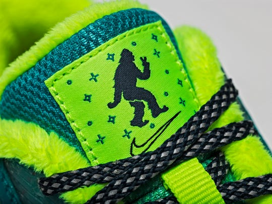 Sasquatch makes an appearance on the tongue tag of the Nike shoes designed by Salem 10-year-old Emory Maughan.
