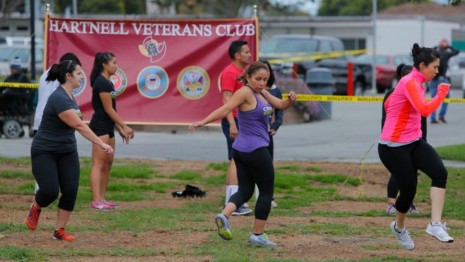 """About 25 people participated in WOD with Warriors """"Armistice"""" on Veterans Day at Hartnell College."""