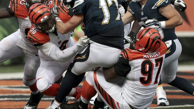 Bengals defensive tackle Geno Atkins tallies a sack near the goal line in the fourth quarter of the Sept. 20 win over the Chargers.