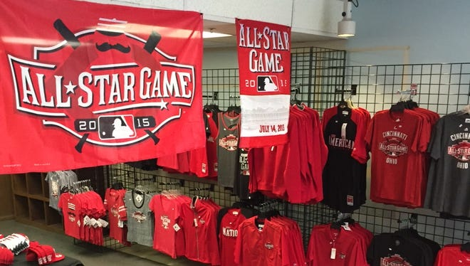 Merchandise for the 2015 Major League Baseball All-Star Game is expected to be in high demand as 200,000 visitors visit Downtown Cincinnati for this year's festivities.