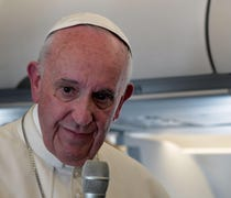 Pope Francis says he won't try to convince U.S. Pr...