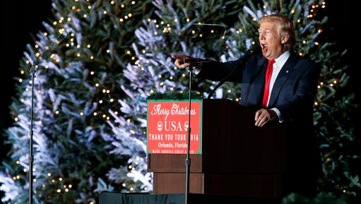 President-elect Donald Trump speaks during a rally at the Orlando Amphitheater at the Central Florida Fairgrounds, Friday, Dec. 16, 2016, in Orlando, Fla.