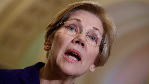 "FILE - In this March, 14, 2017, file photo, Sen. Elizabeth Warren, D-Mass., speaks with reporters as Democrats criticize the Republican health care plan, at the Capitol in Washington. Warren said during an interview on SiriusXM's ""Alter Family Values"" April 27, 2017, that she was ""troubled"" by reports that former President Barack Obama will give a speech to a September health care conference that will be paid for by Wall Street firm Cantor Fitzgerald."