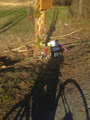 A memorial at the crash site on Vermont 116 in Hinesburg where Richard Tom and Joseph Marshall died.