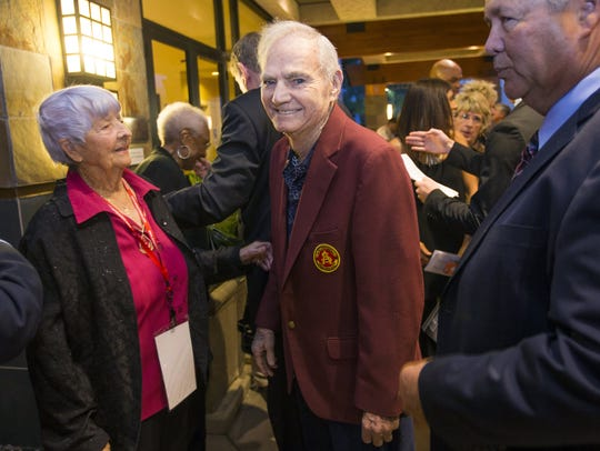 Former Arizona State football coach Frank Kush waits