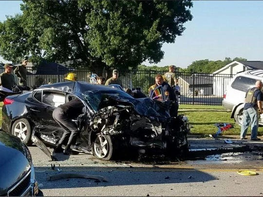 Above is the aftermath of a crash on Meredith Avenue in Urbandale on Aug. 22 that injured Amber Martinez.