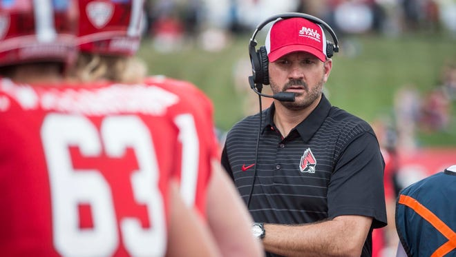 Ball State's Mike Neu coaches against Tennessee Tech on Sept. 16 at Scheumann Stadium. Ball State won the game 28-13.