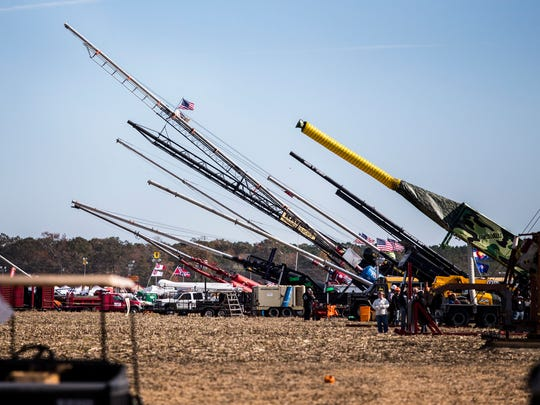 Air cannons line the firing line at the 2016 World Championship Punkin Chunkin competition at Wheatley Farms in Bridgeville on Sunday afternoon.