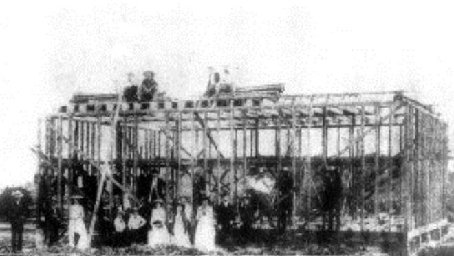 The 1889 construction in Juno of the new courthouse to serve from the St. Lucie River to Miami.