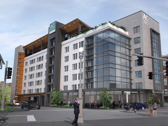 A rendering of the 140-room hotel at Market and Shelby