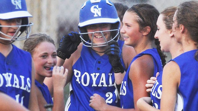 Peyton Hall celebrates a home run during Colo-NESCO's 17-2 win over CAL in the opening round of 1A regional softball on July 5, 2016. The game sticks out as one of my favorite memories of the past decade as the Royal girls sang me happy birthday following the game. Ames Tribune file photo by Nirmalendu Majumdar