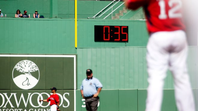A pace of play clock was installed in the outfield of JetBlue Park this spring. Major League Baseball is paying for the installation of the clocks and is hoping that quicker games during the exhibition season carries over into the regular season.