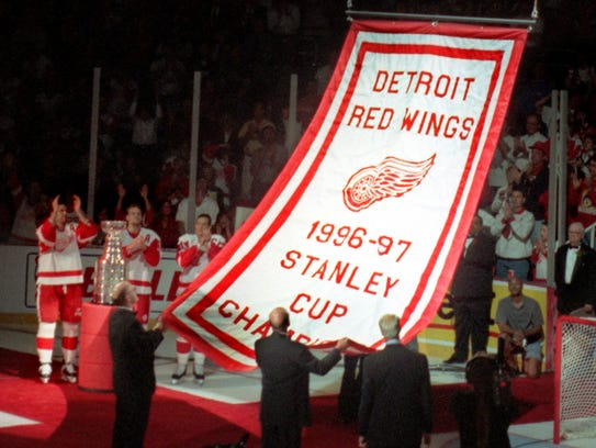 As the 1996-97 Stanley Cup banner is raised to the
