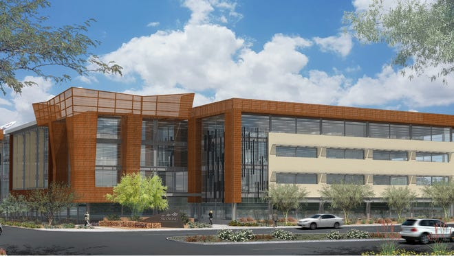 Construction has begun on the fourth building at SkySong, The ASU Scottsdale Innovation Center. A rendering is shown here.