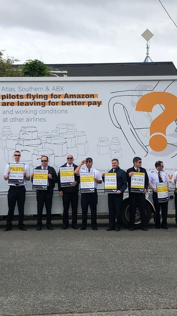 Pilots for Amazon Air protesting what they say is a