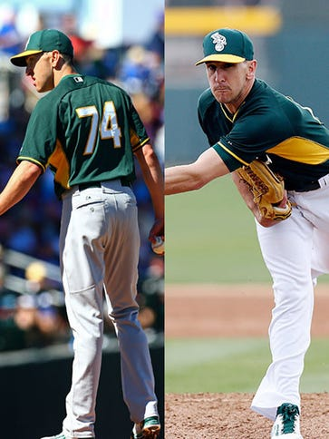 A's pitcher Pat Venditte has retired all five batters