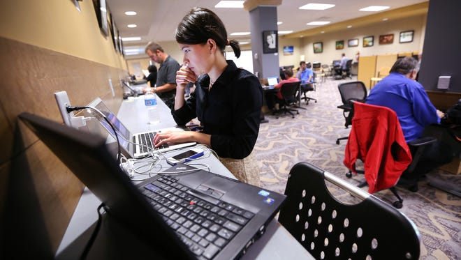 Jackie Mills, a consultant for Enterprise Strategies, works out of the Launch Fishers location in the basement of the Fishers Public Library.