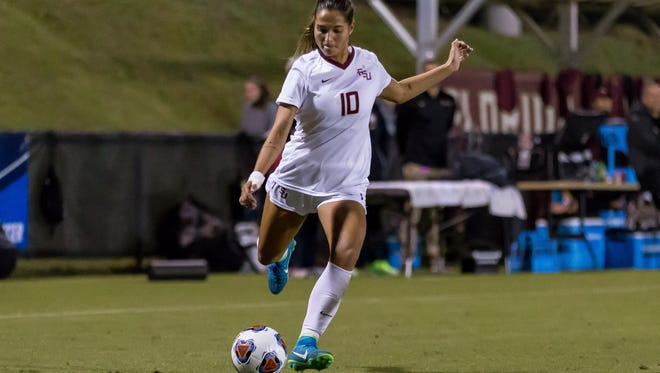 Florida State sophmore forward Deyna Castellanos (10) scored a brace as the FSU Soccer team advances to the second round of the NCAA tournament after defeating Ole Miss by a score of 5-0 at the Seminole Soccer Complex in Tallahassee, FL on Nov. 10, 2017.