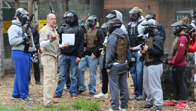 Tim Powers, the new coordinator of Brevard College's criminal justice major, took his students on a field trip recently to a local camp to give them hands-on experience in scenarios they might face in real-life terrorist situations.