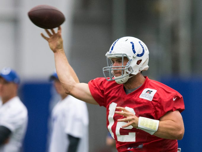 Andrew Luck passes for the Colts during offseason drills in their covered practice facility, Indianapolis, Wednesday, June 4, 2014.