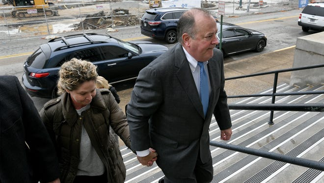Mark Hazelwood leaves the Joel W. Solomon Federal Courthouse in Chattanooga on Wednesday, Feb. 14, 2018. The former Pilot Flying J president was convicted Thursday of conspiracy to commit wire and mail fraud, witness tampering and one individual count of fraud.