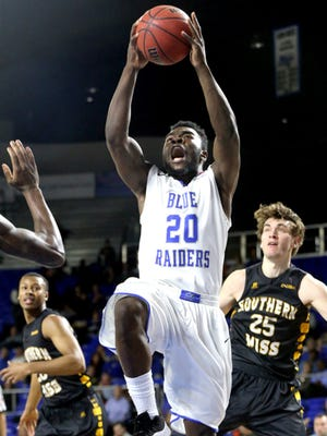 Giddy Potts (20) will play in the Conference USA tournament, head coach Kermit Davis said. Potts suffered a concussion against Western Kentucky,