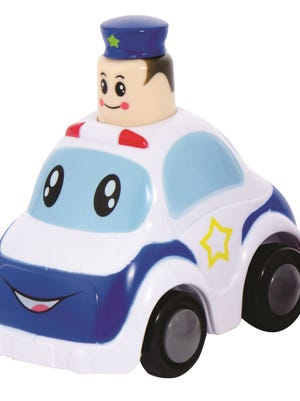 The hat on Police Press & Go toy vehicles can detach from the policeman's head and pose a choking hazard to children.