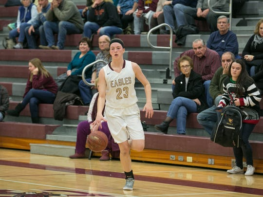 Wayland-Cohocton's Alex Button, a 5-foot-11 guard/forward, averages 22.9 points and 6.3 rebounds. She has scored 1,813 career points, a school record.