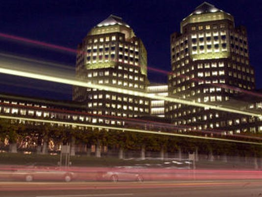 P&G towers getty images at night with cars whizzing by 2001.jpg