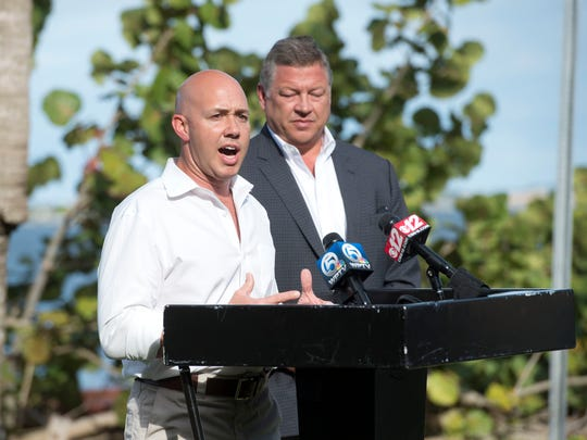 Congressman Brian Mast, a new member of the House Transportation and Infrastructure Committee, invited committee Chairman Bill Shuster for an aerial tour of Central and South Florida waterways Tuesday, Jan. 17, 2017 in Stuart. The duo took questions from local media and attendees before heading back to the helicopter to continue their tour.
