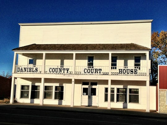The Daniels County Courthouse on Scobey's main street