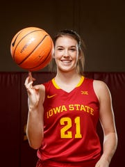 Iowa State's Bridget Carleton stands for a portrait