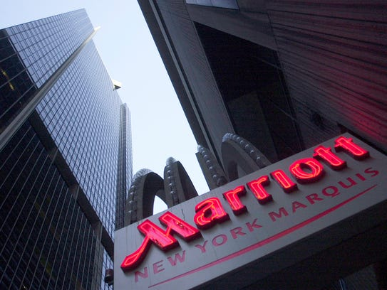 The New York Marriott Marquis hotel, is shown Friday,