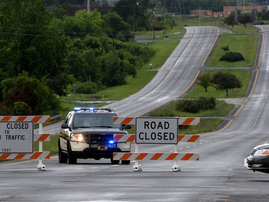 All roads, including US321 here, around the train derailment in Blount County near Old Mount Tabor Road are still blocked by law enforcement Friday, Jul. 3, 2015. (MICHAEL PATRICK/NEWS SENTINEL)