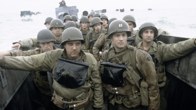 """Soldiers prepare to land at Omaha Beach in """"Saving Private Ryan."""""""