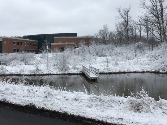 The snow and ice made for a beautiful landscape outside Riedl Hall on the campus of The Ohio State University at Mansfield and North Central State College on Friday morning.