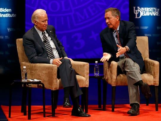 Former Vice President Joe Biden, left, and Ohio Gov.