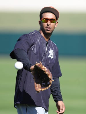 Detroit Tigers outfielder Anthony Gose takes part in drills during spring training Monday, Feb. 20, 2017, in Lakeland, Fla.