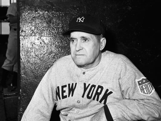Yankees manager Joe McCarthy is shown in St. Louis, Sept. 9, 1942.