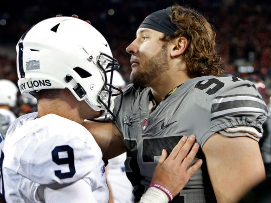 Penn State quarterback Trace McSorley congratulates Ohio State defensive end Nick Bosa after their teams met last October, with the Buckeyes prevailing 39-38.