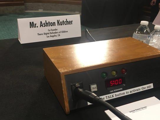 Ashton Kutcher spoke to the Senate Committee on Foreign