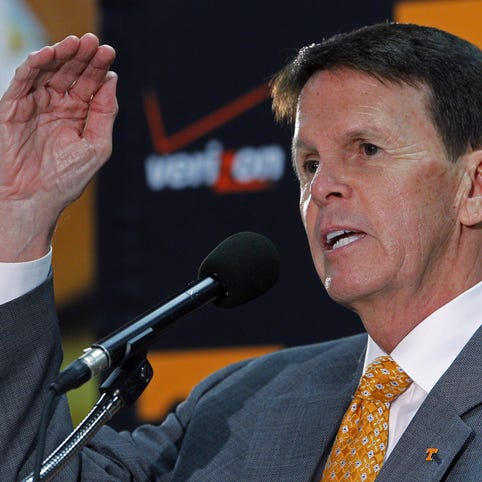 Butch Jones, right, and UT athletics director Dave Hart have discussed a possible contract extension for Jones.