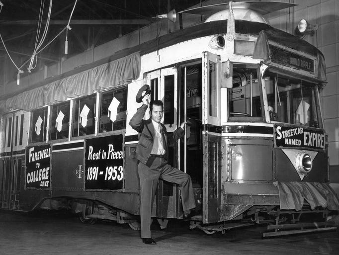 This photo shows the streetcar era in Indianapolis
