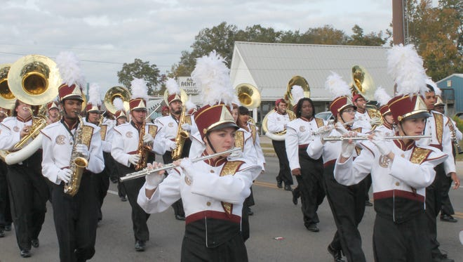 The Pearl River Community College Spirit of the River marches in the Hattiesburg Veterans Day parade today.
