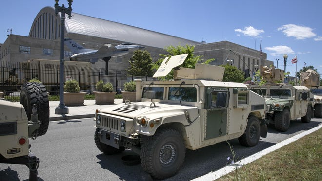 Vehicles for the District of Columbia National Guard are seen outside the D.C. Armory, Monday, June 1, 2020, in Washington. Protests have erupted across the United States to protest the death of Floyd, a black man who was killed in police custody in Minneapolis on May 25.