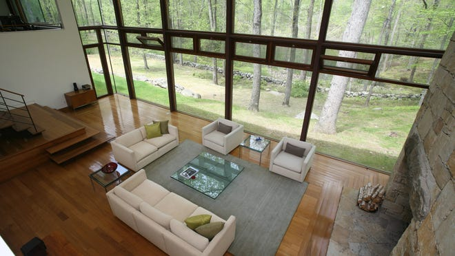 The living room of a1999 built modern home on Colonel Sheldon Lane in Pound Ridge.