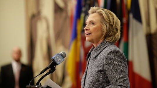 Former secretary of State Hillary Rodham Clinton addresses the media in regards to her use of a private e-mail server on March 10, 2015.